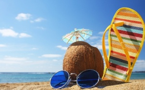 holiday-Coconut-an-umbrella-sand-sea-vacation-glasses-black-thong-blue-sky-download-wallpapers